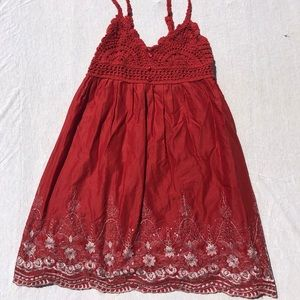 Red Lace Embroidered Crochet Sundress